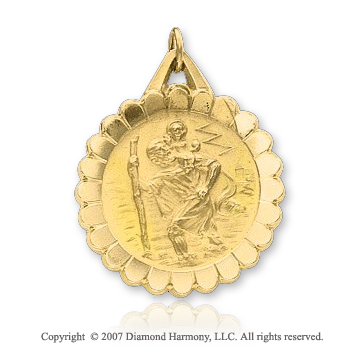 14k Yellow Gold Vintage Small St. Christopher Medal