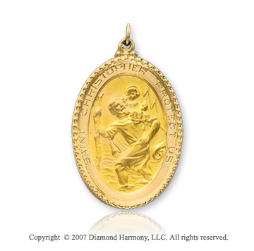 14k Yellow Gold Classic Oval Large St. Christopher Medal