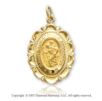 14k Yellow Gold Carved Elegance St. Christopher Medal