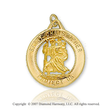 14k Yellow Gold Stylish Circle St. Christopher Medal