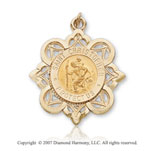 14k Yellow Gold Classic Small St. Christopher Medal