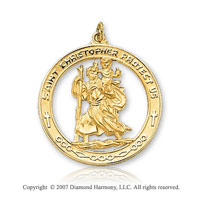 14k Yellow Goldold Medium Circle St. Christopher Medal