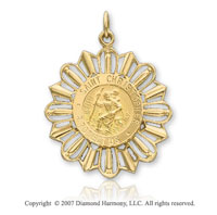 14k Yellow Gold Sunburst Small St. Christopher Medal