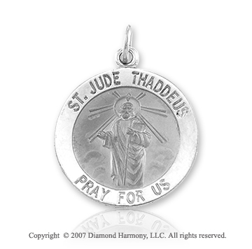 14k White Gold Large 'Pray for Us' St. Jude Medal