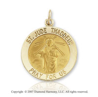 14k Yellow Gold 'Pray For Us^ Large St. Jude Medal