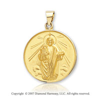 18k Yellow Gold Divine Martyr Large St. Jude Medal