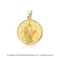 18k Yellow Gold Divine Martyr Small St. Jude Medal