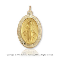 14k Yellow Gold Blessed Mary Large Miraculous Medal