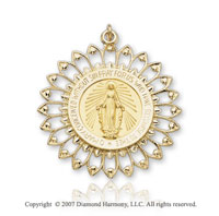 14k Yellow Goldold Elegant Filigree Medium Miraculous Medal