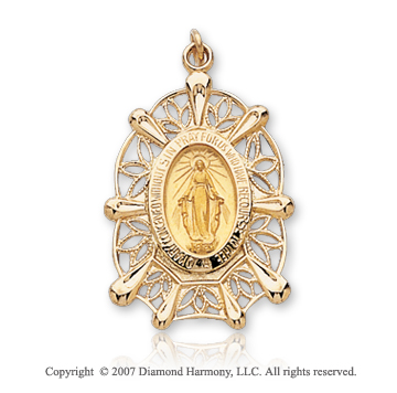 14k Yellow Gold Blessed Mother Small Miraculous Medal