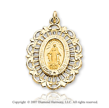 14k Yellow Gold Holy Mother Medium Miraculous Medal