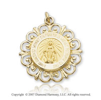 14k Yellow Gold Blessed Virgin Mary Miraculous Medal