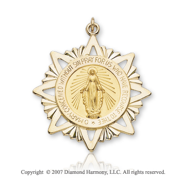 14k Yellow Gold Divine Glory Medium Miraculous Medal