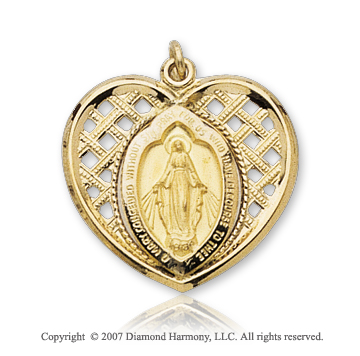 14k Yellow Gold Blessed Mother Heart Miraculous Medal