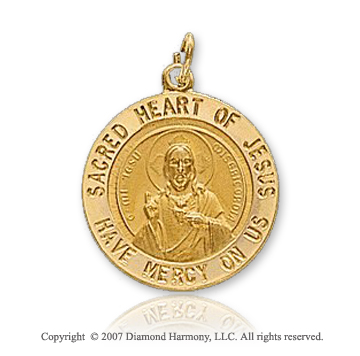 14k Yellow Gold 'Have Mercy On Us' Sacred Heart Medal