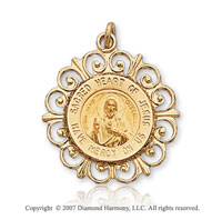 14k Yellow Goldold Divine Small Sacred Heart of Jesus Medal