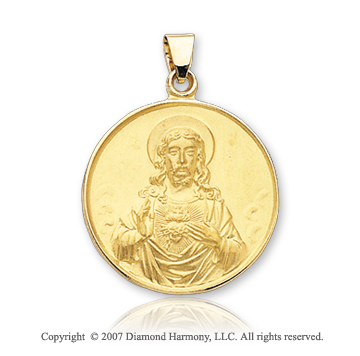 14k Yellow Goldold Glorious Small Sacred Heart of Jesus Medal