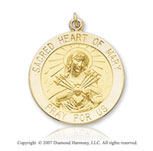 14k Yellow Gold 'Pray For Us' Small Sacred Heart Medal