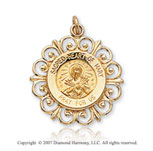 14k Yellow Gold Divine Faith Small Sacred Heart Medal