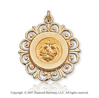 14k Yellow Gold Filigree Ornate Carved Baptism Medal