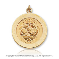 14k Yellow Goldold Holy Spirit Carved Medium Baptism Medal