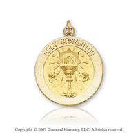14k Yellow Gold Eucharist Carved Small Communion Medal