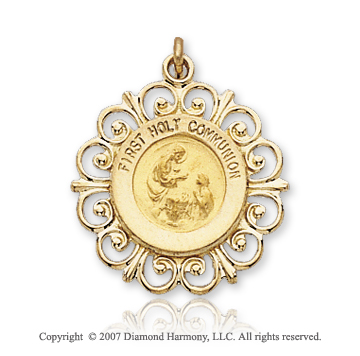 14k Yellow Goldold Filigree Carved First Holy Communion Medal