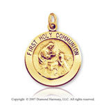 14k Yellow Gold Carved Large First Holy Communion Medal