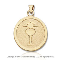 14k Yellow Gold Bread and Chalice Large Communion Medal