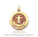 14k Yellow Goldold Heavenly Cross Medium Confirmation Medal