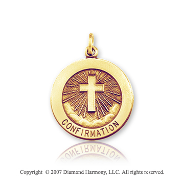 14k Yellow Gold Heavenly Cross Small Confirmation Medal