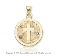 14k Yellow Gold Divine Cross Carved Confirmation Medal