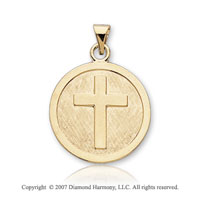 14k Yellow Goldold Traditional Cross Carved Confirmation Medal