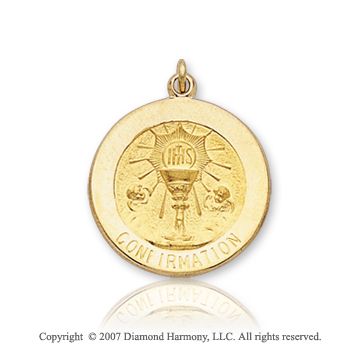 14k Yellow Gold Small Confirmation Medal