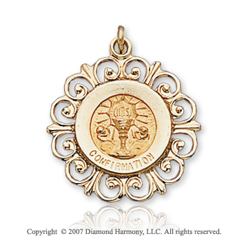 14k Yellow Goldold Filigree Outline Carved Confirmation Medal
