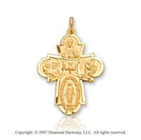 14k Yellow Goldold Divine Elegance Carved Four Way Cross Medal