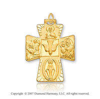 14k Yellow Goldold Glorious Faith Carved Four Way Cross Medal