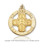 14k Yellow Goldold Divine Life Preserver Four Way Cross Medal