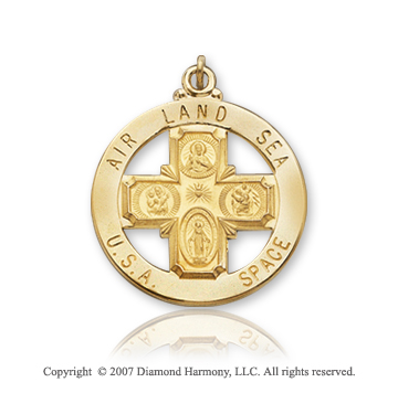 14k Yellow Goldold Blessed Life Preserver Four Way Cross Medal