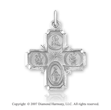 14k White Gold Elegant Style Carved Large Four Way Cross