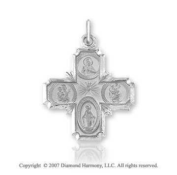 14k White Gold Elegant Style Carved Four Way Cross