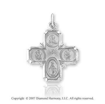 14k White Gold Elegant Style Carved Medium Four Way Cross