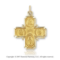 14k Yellow Gold Elegant Carved Large Four Way Cross