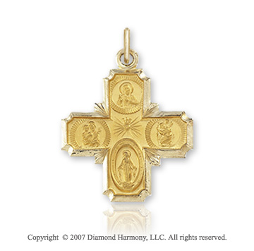 14k Yellow Gold Elegant Style Carved Four Way Cross