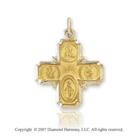 14k Yellow Gold Elegant Carved Medium Four Way Cross