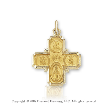 14k Yellow Gold Elegant Carved Small Four Way Cross