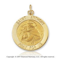 14k Yellow Gold 'Pray For Us' Large Saint Anthony of Padua Medal