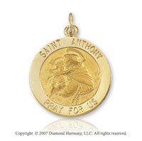 14k Yellow Gold 'Pray for Us' Medium St. Anthony Medal