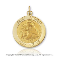 14k Yellow Gold 'Pray For Us' Small Saint Anthony Medal