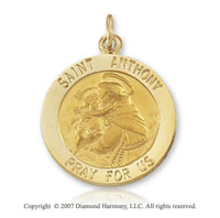 14k Yellow Gold 'Pray for Us' Extra Large St. Anthony Medal